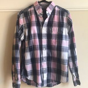 American Eagle 🦅 Navy pink button down medium